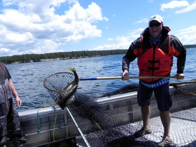Chris netting a Monster Lake Trout with a big old grin of Accomplishment